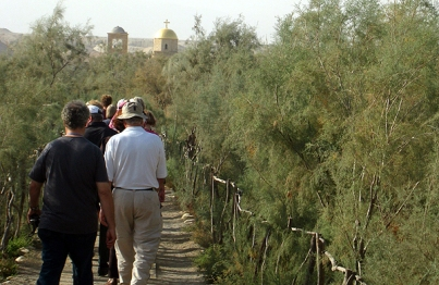 walking through the Tamarisk jungle to the Jordan River at Bethany Beyond the Jordan