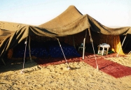Traditional Berber tent in our Sahara Desert camp.