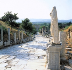 Curetes Way, one of the main streets in Ephesus, Turkey.