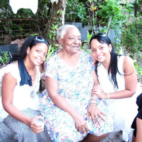 Tania and sister with their 92-year old grandmother, Cuba