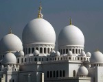 onion domes of the Grand Mosque in Abu Dhabi, UAE