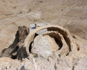 water cistern at Masada, Israel, photo by Sallie Volotzky