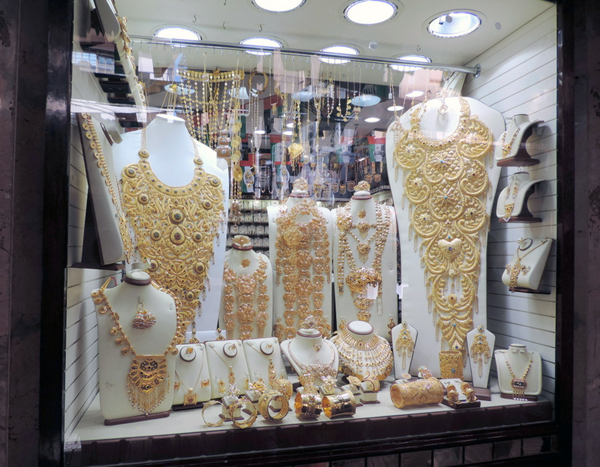 walking through the Gold Souk, Dubai, photo by Sallie Volotzky