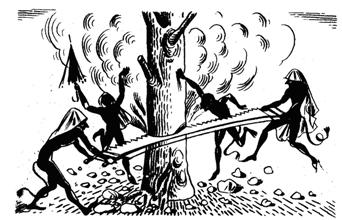 kallikatzaroi sawing the World Tree