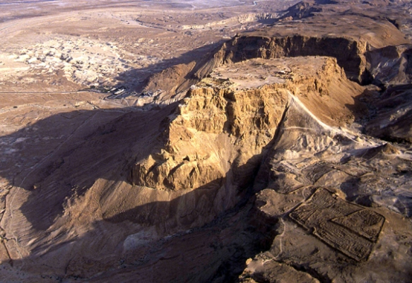remains of Roman siege camp at the base of Masada and the attack ramp used to take the fortress