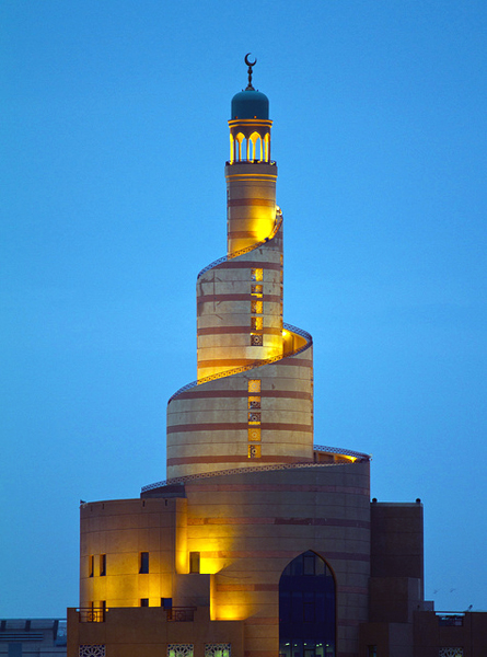 spiral minaret of the Qatar Mosque in Doha