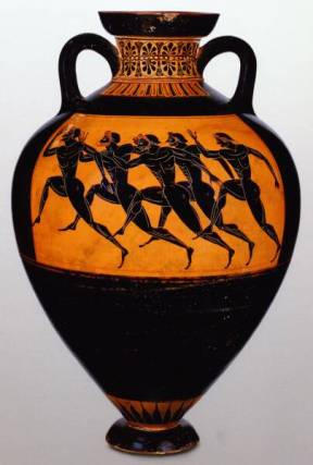 Olympic runners on ancient Greek pottery