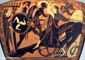 Greek vase painting of Achilles dragging the body of Hector