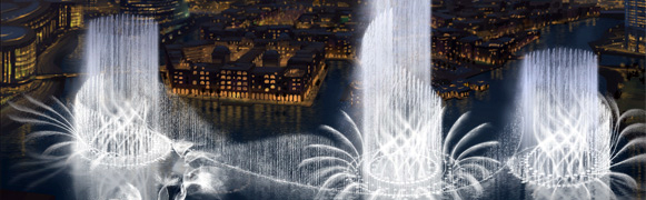 Dubai Fountain, photo from Emaar Properties, emaar.com