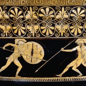 Greek vase painting of the battle of Hector and Achilles at Troy