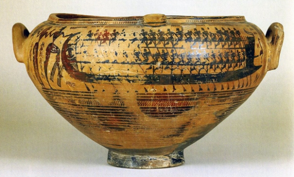 ancient pot dipicting the abduction of Helen