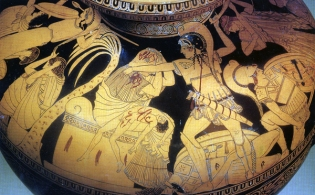 Greek vase painting of the sack of Troy