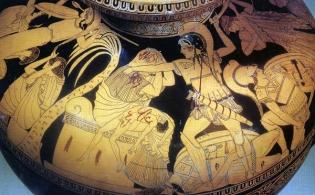 Greek vase painting of the sack of Troy